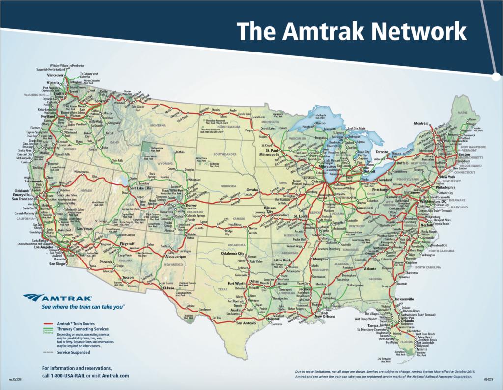 Nationwide Amtrak Passenger Rail Service Map