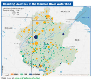 Map showing significant waste from animal facilities in the Maumee river watershed