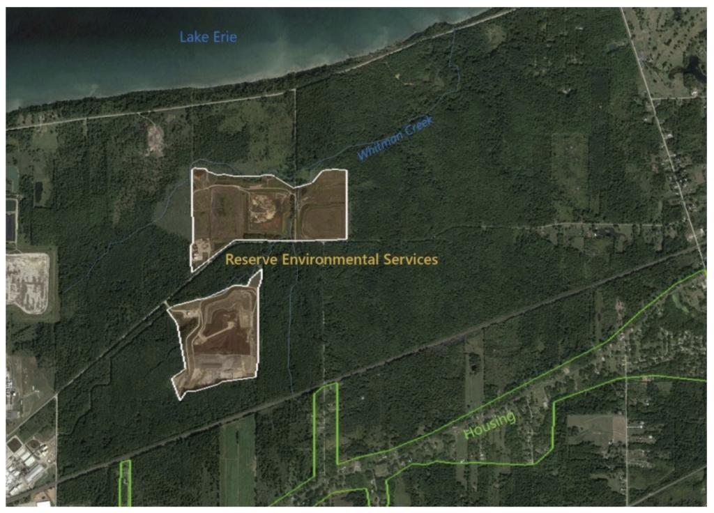 Map of Reserve Environmental Services, Inc. outside Ashtabula, Ohio on Lake Erie