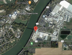 Google map screenshot shows Campbell's facility on Maumee River