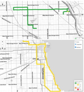 Two maps. Green on the top one indicates good air on the north side, yellow on bottom one means moderate pollution on the south side.