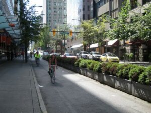 Bicycle riders next to a tall bushy median